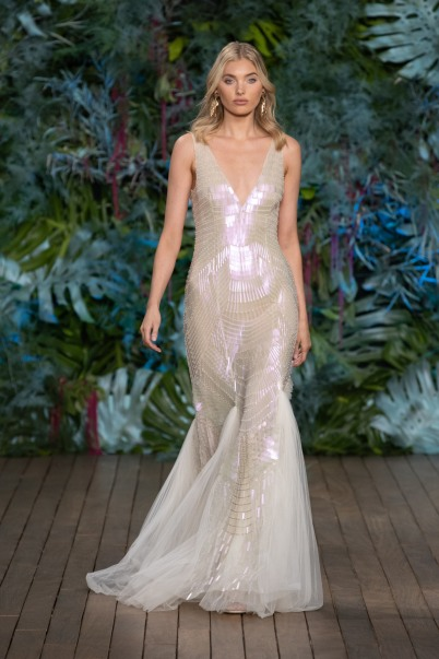 One of the beautiful looks at the Alberta Ferretti Fashion Show at the Yacht Club of Monaco, Saturday May 18, 2019 within the MCFW @Courtesy of Alberta Ferretti