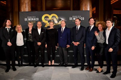 Prince Albert and Princess Charlene surrounded by the documentary co-producers and their team, Grand Prix de Monaco La légende @Direction de la Communication:Manuel Vitali