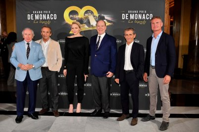 Prince Albert and Princess Charlene with Jackie Stewart, Jacky Ick, Alain Prost and David Coulthard at the premiere of Grand Prix de Monaco La légende @Direction de la Communication:Manuel Vitali