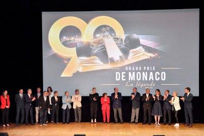 Prince Albert and Princess Charlene with the film producers and crew at the premiere of Grand Prix de Monaco La légende @Direction de la Communication:Manuel Vitali