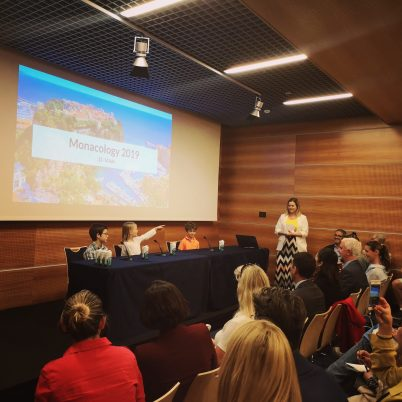 Students Gaspard, Lyly and Luigi at the Monacology 2019 Press Conference @Monacology