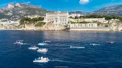 Monaco Solar & Energy Boat Challenge competition passing by the Oceanographic Museum @Studio Borlenghi, YCM
