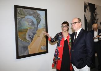 Prince Albert and exhibition curator Montse Aguer @JC Vinaj, Grimaldi Forum Monaco