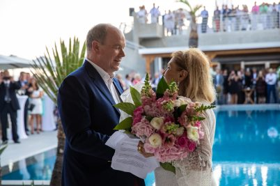 Prince Albert II presents a bouquet of flowers to Louisette Levy Soussan Azzoaglio for her birthday @EdWright Images