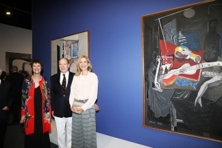 Prince Albert II with the Infanta Cristina de Bourbon and Montse Aguer @ JC Vinaj, Grimaldi Forum Monaco