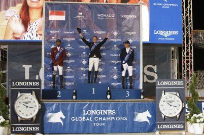 The Podium of LGCT of Monaco - 1st Maikel van Der Vleuten, 2nd Bassem Mohammed, 3rd Julien Epaillard @Stefano Grasso / LGCT Monaco 2019