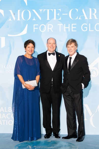 Prince Albert II with Robert Redford and his wife Sibylle Szaggars at Global Ocean Gala, Monaco 2019 ©Eric Mathon Palais Princier