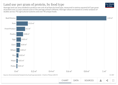 Land use per gram of protein. by food type