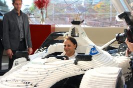 Felipe Massa on board the LEGO built racing car @CelinaLafuentedeLavotha