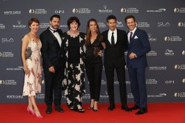Karl Landler with the cast of A Famille Formidable at the 58th Monte-Carlo TV Festival