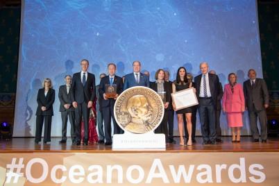 Ban Ki-moon, Prince Albert II, Lisa Ann Levin, Violaine Pellichero - Prince Albert I Grand Medals 2019 © M Dagnino - Musée océanographique (low)