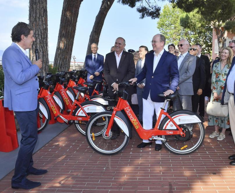 Prince Albert inaugurating MonaBike service in the Principality @Michael Alesi, Direction Communication