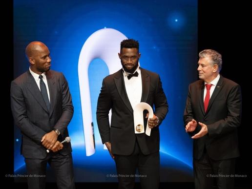Didier Drogba, Siya Kolisi, and Joël Bouzou, Peace and Sport 2019 @Eric Mathon, Palais Princier