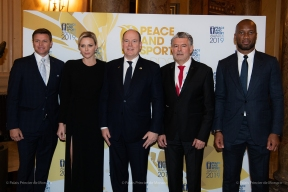 Gareth Wittstock, Princess Charlene, Prince Albert II, Joël Bouzou and Didier Drogba, Peace and Sport 2019 @Eric Mathon, Palais Princier