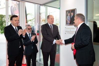 Prince Albert being welcomed by Jean-Philippe Muller, accompanied by Stephan Valerie and Patrice Cellario at the Inauguration of IUM new premises11.12.19 @Gaetan Luci, Palais Princier