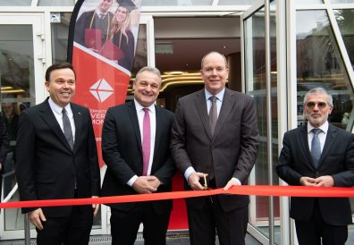 Prince Albert cutting the Red Ribbon surrounded by Jean-Philippe Muller, Stephane Valeri and Patrice Cellario at Inauguration of IUM's new home 11.12.19.@Gaetan Luci, Palais Princier