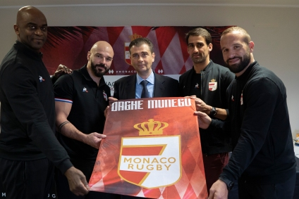 Monaco Rugby 7s Press Conference, January 29, 2020 from L to R Zeba Troare, Benjamin Lapeyre, Emmnauel Falco, Paul Albaladejo and Frederic Michalak@Florian Vidot