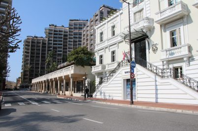 Deserted street in the heart of Monte-Carlo, Monaco, April 5, 2020 @Celina Lafuente de Lavotha