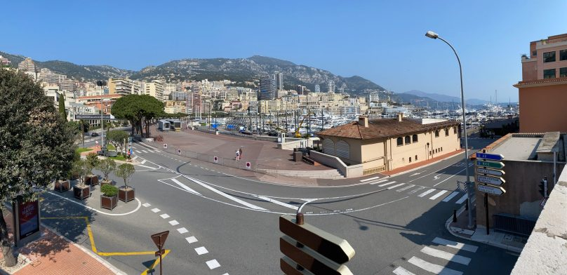 Remnants of the Grand Prix installations in Port Hercule, Monaco, April 5, 2020 @Celina Lafuente de Lavotha