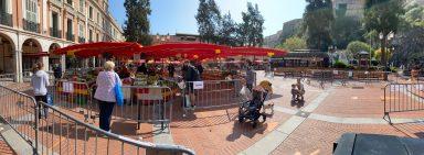 The market in the Condamine organized during confinement, Monaco, April 5, 2020 @Celina Lafuente de Lavotha