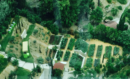 A view of the potager adjacent to the Odeon Tower @Terre de Monaco